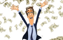 CEO bathing in a heap of cash